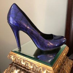 Jessica Simpson heels faux print in purple/black